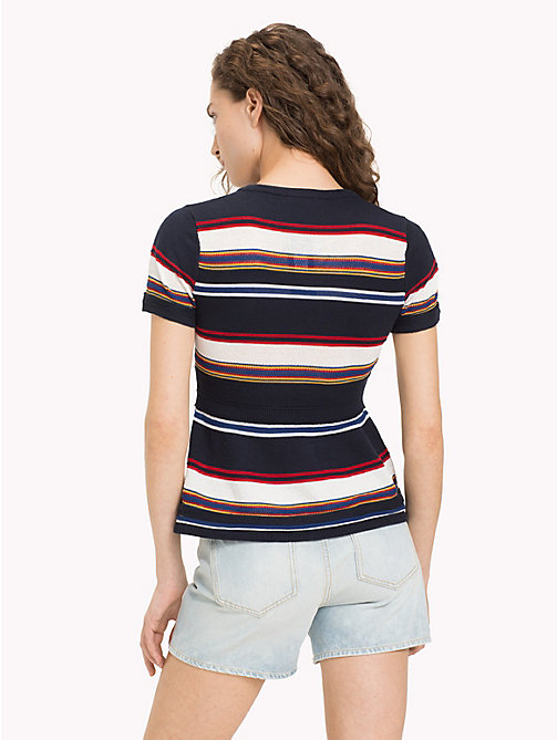 TOMMY HILFIGER Bright Stripe Peplum T-Shirt - MIDNIGHT MULTI - TOMMY HILFIGER Tops - detail image 1
