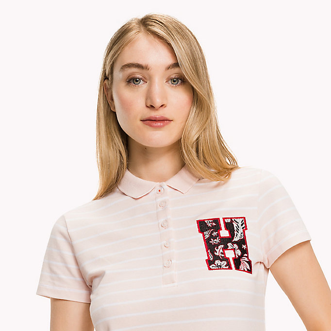 TOMMY HILFIGER Fitted Stripe Polo Shirt - CLASSIC WHITE / SKY CAPTAIN STP - TOMMY HILFIGER Women - detail image 2