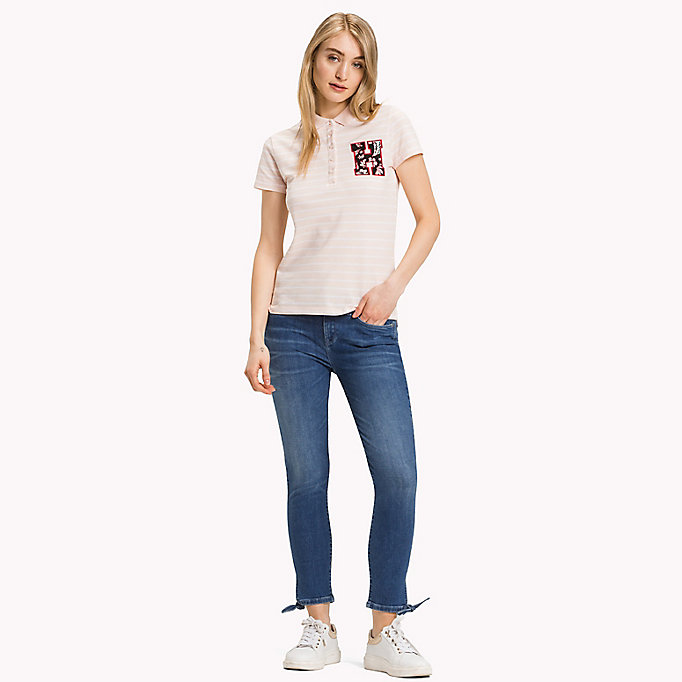 TOMMY HILFIGER Fitted Stripe Polo Shirt - CLASSIC WHITE / SKY CAPTAIN STP - TOMMY HILFIGER Women - main image