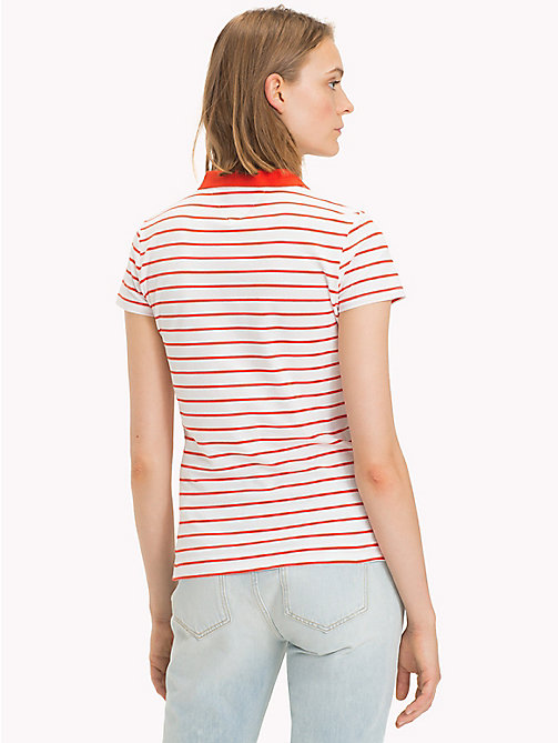 TOMMY HILFIGER Fitted Stripe Polo Shirt - CLASSIC WHITE / FIESTA STP - TOMMY HILFIGER Vacation Style - detail image 1