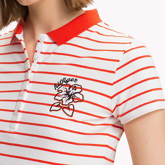 TOMMY HILFIGER Fitted Stripe Polo Shirt - SAMOAN SUN / CLASSIC WHITE STP - TOMMY HILFIGER Women - detail image 2