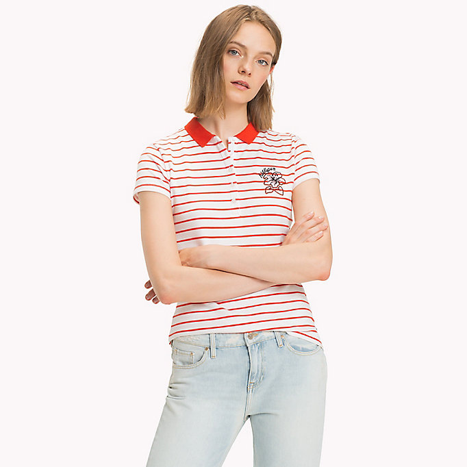 TOMMY HILFIGER Fitted Stripe Polo Shirt - SAMOAN SUN / CLASSIC WHITE STP - TOMMY HILFIGER Women - main image