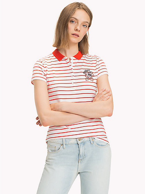 TOMMY HILFIGER Fitted Stripe Polo Shirt - CLASSIC WHITE / FIESTA STP - TOMMY HILFIGER Vacation Style - main image