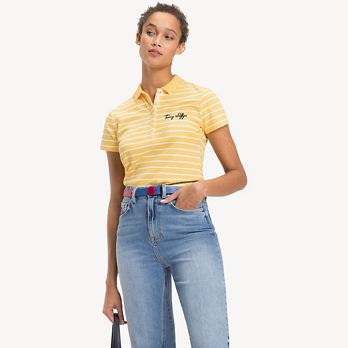 TOMMY HILFIGER Fitted Stripe Polo Shirt - SILVER PEONY / CLASSIC WHITE STP - TOMMY HILFIGER Women - main image