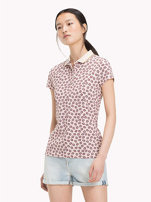 TOMMY HILFIGER Leaf Print Polo Shirt - MINI LEAF PRT / TAPIOCA - TOMMY HILFIGER Vacation Style - main image