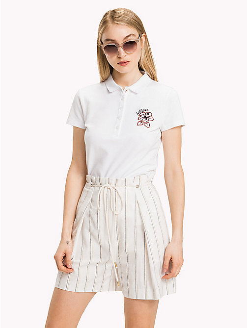 TOMMY HILFIGER Floral Embroidery Polo Shirt - CLASSIC WHITE - TOMMY HILFIGER Polo Shirts - main image