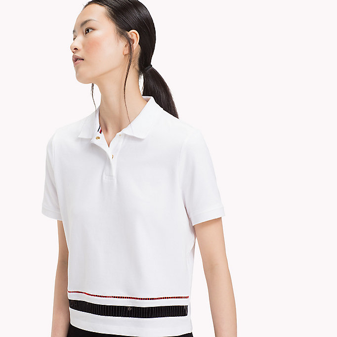 TOMMY HILFIGER DAPHNE CROPPED POLO SS - SILVER PEONY - TOMMY HILFIGER Dames - detail image 2