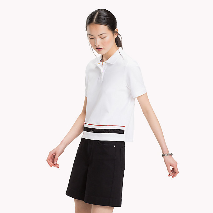 TOMMY HILFIGER DAPHNE CROPPED POLO SS - SILVER PEONY - TOMMY HILFIGER Dames - main image