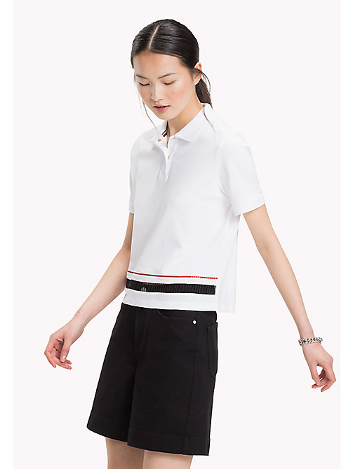 TOMMY HILFIGER Cropped Ladder Detail Polo Shirt - CLASSIC WHITE - TOMMY HILFIGER Polo Shirts - main image