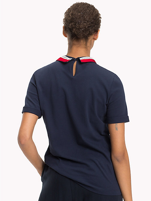 TOMMY HILFIGER Lace Collar Polo Shirt - MIDNIGHT - TOMMY HILFIGER Polo Shirts - detail image 1