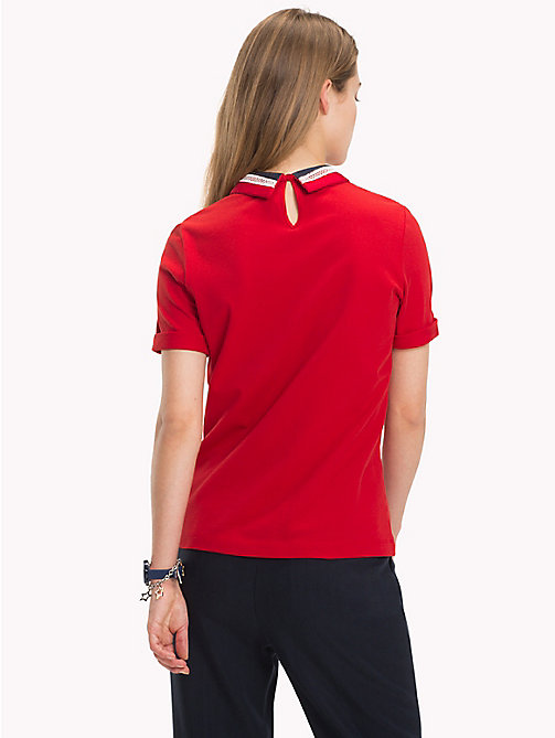 TOMMY HILFIGER Lace Collar Polo Shirt - POMPEIAN RED - TOMMY HILFIGER Polo Shirts - detail image 1
