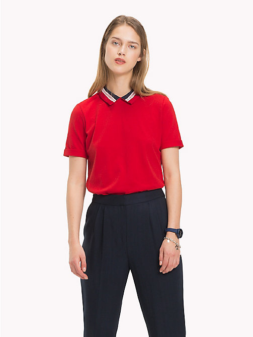 TOMMY HILFIGER Lace Collar Polo Shirt - POMPEIAN RED - TOMMY HILFIGER Polo Shirts - main image