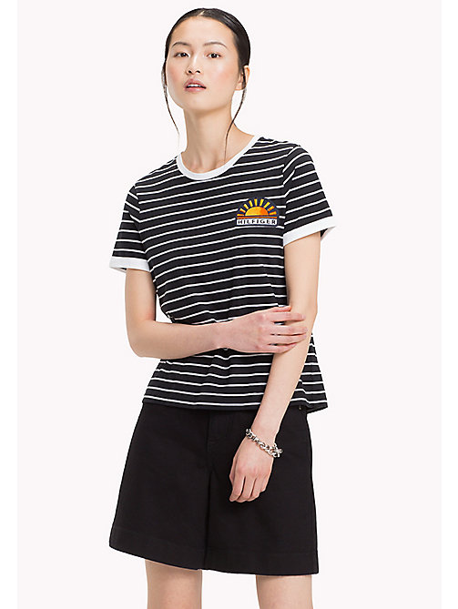 TOMMY HILFIGER Stripe Sun Patch T-Shirt - BLACK BEAUTY / CLASSIC WHITE STP - TOMMY HILFIGER Vacation Style - main image