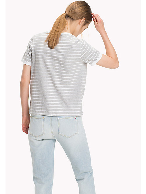 TOMMY HILFIGER Stripe Sun Patch T-Shirt - LT GREY HTR  / CLASSIC WHITE STP - TOMMY HILFIGER Tops - detail image 1