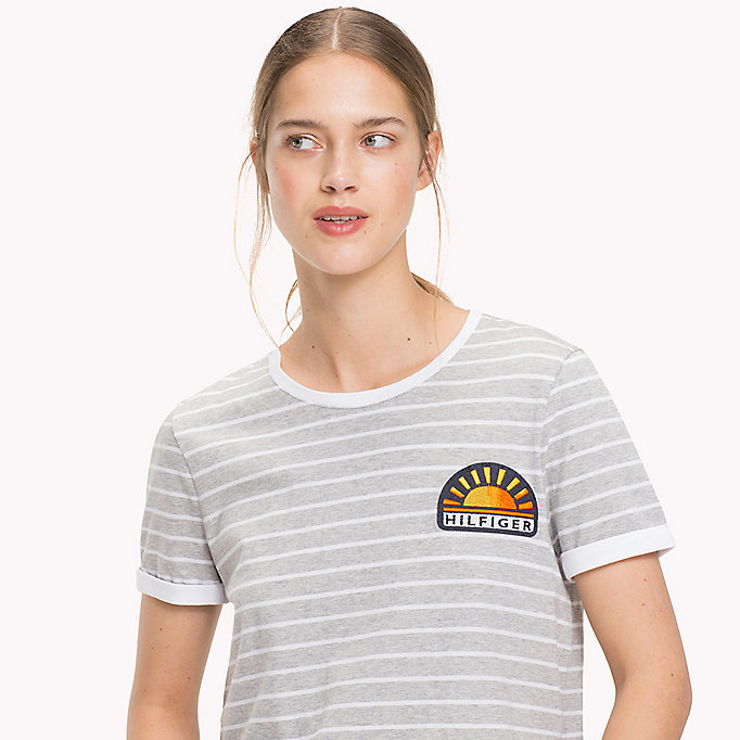 TOMMY HILFIGER Stripe Sun Patch T-Shirt - BLACK BEAUTY / CLASSIC WHITE STP - TOMMY HILFIGER Women - detail image 2