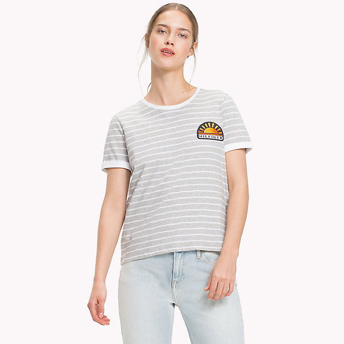 TOMMY HILFIGER Stripe Sun Patch T-Shirt - BLACK BEAUTY / CLASSIC WHITE STP - TOMMY HILFIGER Women - main image