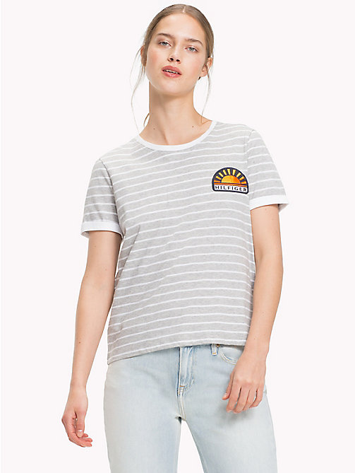 TOMMY HILFIGER Stripe Sun Patch T-Shirt - LT GREY HTR  / CLASSIC WHITE STP - TOMMY HILFIGER Vacation Style - main image