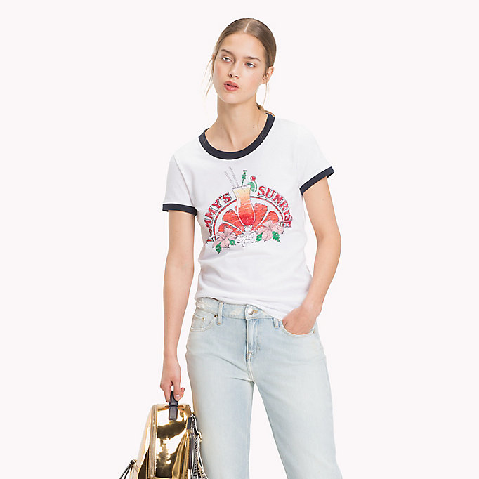 TOMMY HILFIGER DAX ROUND-NK TEE SS - SILVER PEONY - TOMMY HILFIGER Mujer - imagen principal