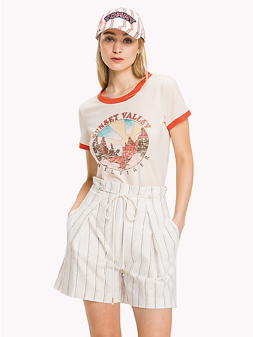 TOMMY HILFIGER Retro Print Cotton T-Shirt - SILVER PEONY - TOMMY HILFIGER Vacation Style - main image