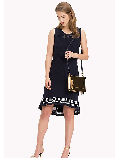 TOMMY HILFIGER Knitted Ruffle Hem Dress - MIDNIGHT - TOMMY HILFIGER VACATION FOR HER - main image