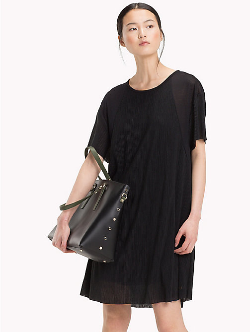TOMMY HILFIGER Loose Round Neck Dress - BLACK BEAUTY - TOMMY HILFIGER Midi - main image