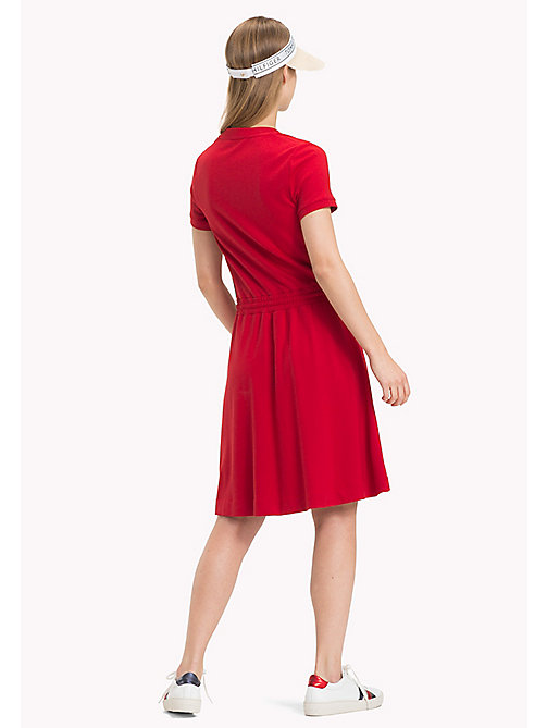 TOMMY HILFIGER Drawstring V-Neck Dress - POMPEIAN RED - TOMMY HILFIGER Midi - detail image 1