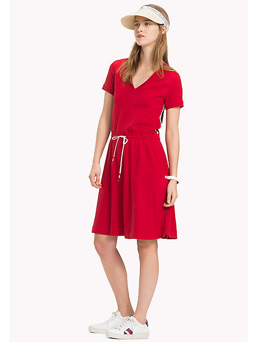 TOMMY HILFIGER Drawstring V-Neck Dress - POMPEIAN RED - TOMMY HILFIGER Midi - main image