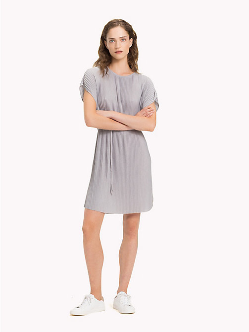 TOMMY HILFIGER Pleated Short Dress - LIGHT GREY HTR - TOMMY HILFIGER Midi - main image
