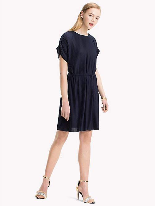 TOMMY HILFIGER Pleated Short Dress - MIDNIGHT - TOMMY HILFIGER Midi - main image