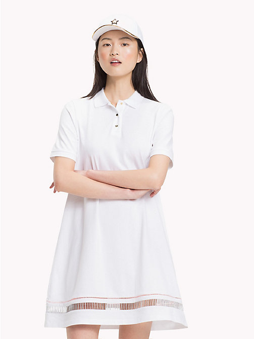 TOMMY HILFIGER Ladder Hem Polo Dress - CLASSIC WHITE - TOMMY HILFIGER Mini - main image