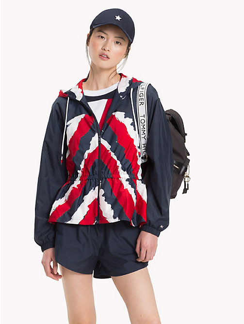 TOMMY HILFIGER Wiatrówka z tkaniny air-mesh z baskinką - MIDNIGHT /  GLOBAL STP - TOMMY HILFIGER Athleisure - main image