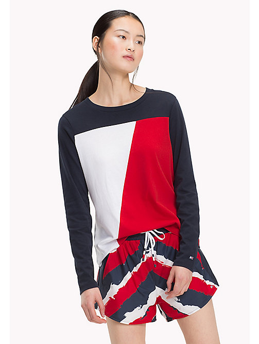 TOMMY HILFIGER Colour-Blocked Long Sleeved Top - MIDNIGHT - TOMMY HILFIGER Athleisure - main image