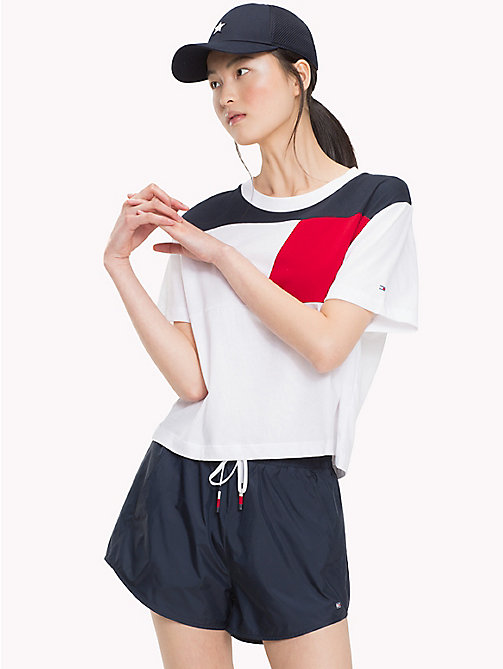 TOMMY HILFIGER Colour-Blocked Cropped T-Shirt - CLASSIC WHITE - TOMMY HILFIGER T-Shirts - main image