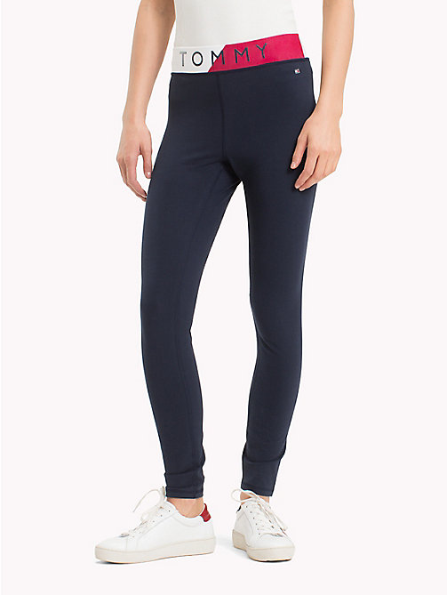 TOMMY HILFIGER Colour-Blocked Waistband Leggings - MIDNIGHT - TOMMY HILFIGER Athleisure - main image