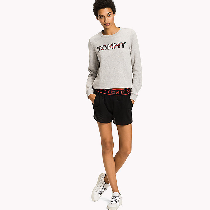 TOMMY HILFIGER Cotton Blend Logo Jumper - CLASSIC WHITE - TOMMY HILFIGER Clothing - main image