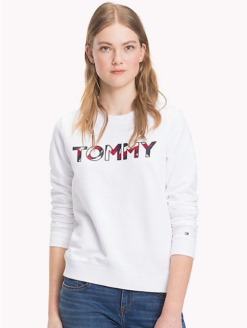 TOMMY HILFIGER Cotton Blend Logo Jumper - CLASSIC WHITE - TOMMY HILFIGER Sweatshirts - main image