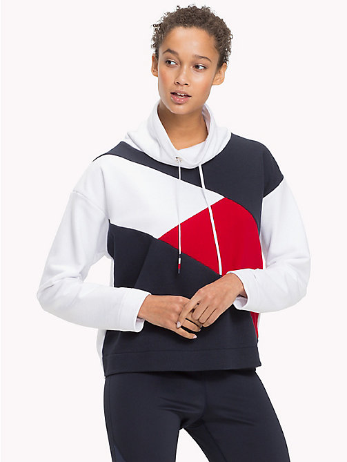 TOMMY HILFIGER Funnel Neck Colour-Blocked Jumper - CLASSIC WHITE - TOMMY HILFIGER Hoodies - main image