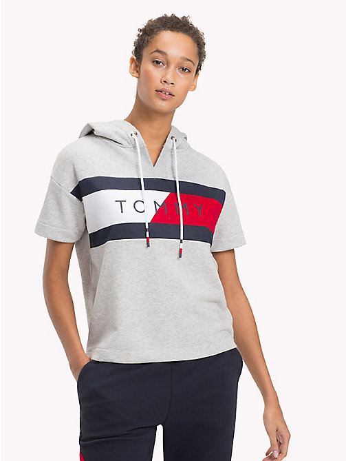 TOMMY HILFIGER Short Sleeve Logo Hoody - LIGHT GREY HTR - TOMMY HILFIGER Athleisure - main image