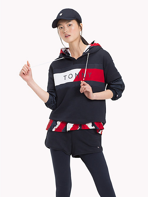 TOMMY HILFIGER Short Sleeve Logo Hoody - MIDNIGHT - TOMMY HILFIGER Athleisure - main image