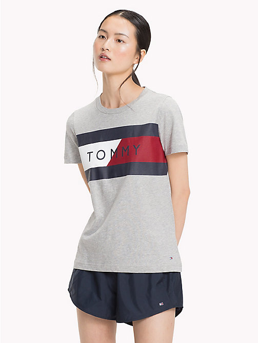 TOMMY HILFIGER Logo Flag T-Shirt - LIGHT GREY HTR - TOMMY HILFIGER T-Shirts - main image