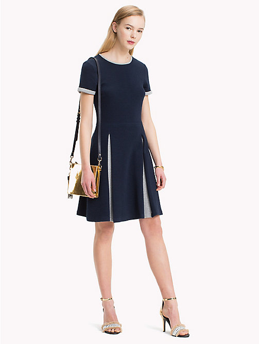 TOMMY HILFIGER Pleated Minidress - MIDNIGHT / LIGHT GREY HTR - TOMMY HILFIGER Dresses - main image