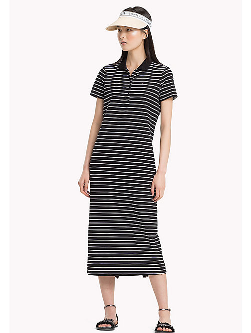TOMMY HILFIGER Stripe Maxi Polo Dress - BLACK BEAUTY / CLASSIC WHITE STP - TOMMY HILFIGER VACATION FOR HER - main image