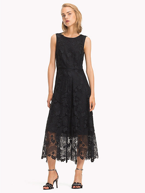 TOMMY HILFIGER Floral Lace Midi Dress - BLACK BEAUTY - TOMMY HILFIGER Dresses & Skirts - main image