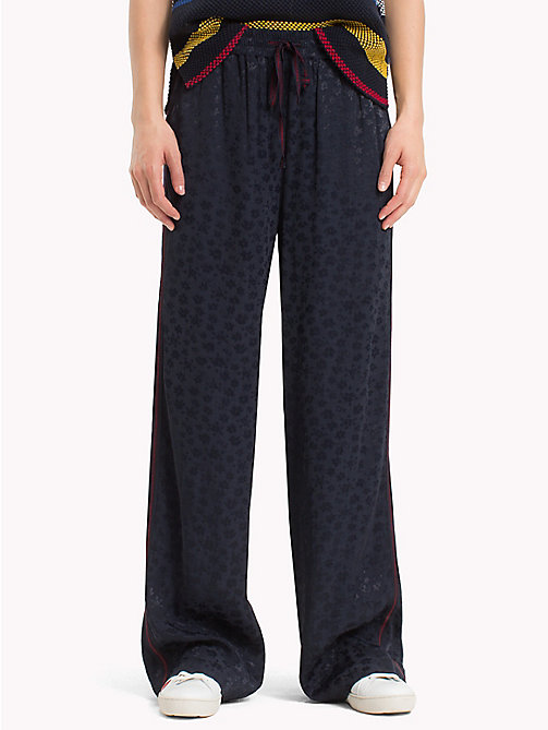 TOMMY HILFIGER Floral Print Drawstring Trousers - DITSY TONAL JACQUARD / SKY CAPTAIN - TOMMY HILFIGER Trousers - main image