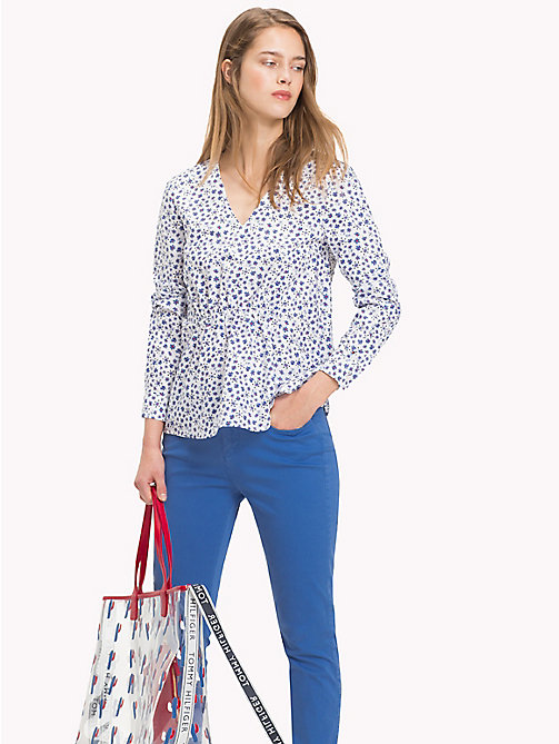 TOMMY HILFIGER Ruched V-Neck Blouse - DITSY FLORAL / CLASSIC WHITE - TOMMY HILFIGER NEW IN - main image