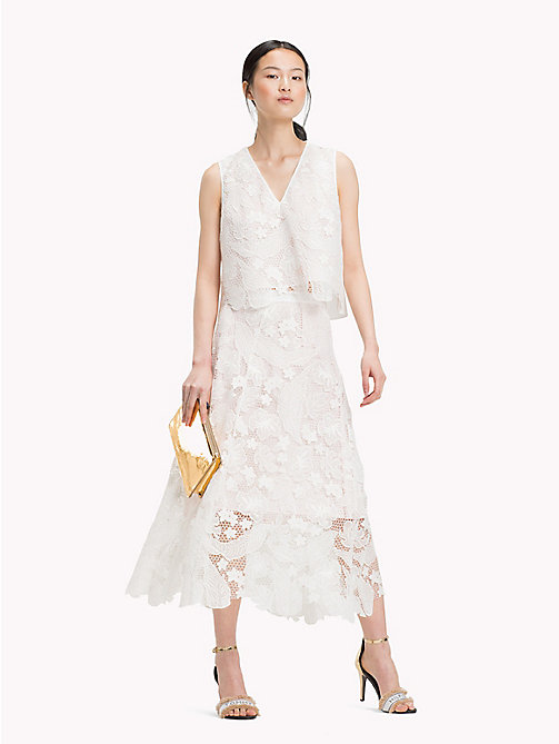TOMMY HILFIGER Floral Lace Midi Skirt - SNOW WHITE - TOMMY HILFIGER Occasion wear - main image