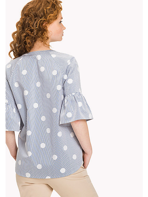 Embroidered Blouse - OVERSIZED OVERPRINTED POLKA DOT PRT / CL -  Clothing - detail image 1