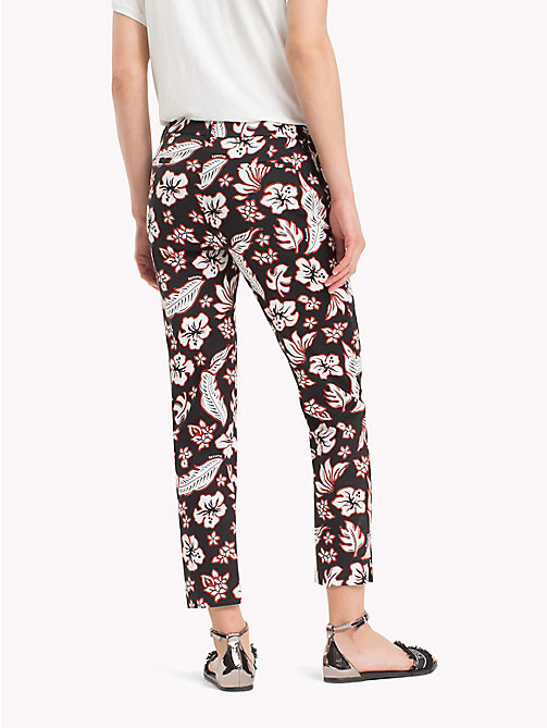 TOMMY HILFIGER Printed Ankle Slit Trousers - TROPICAL PRT / BLACK BEAUTY - TOMMY HILFIGER Cropped Trousers - detail image 1
