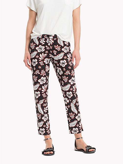 TOMMY HILFIGER Printed Ankle Slit Trousers - TROPICAL PRT / BLACK BEAUTY - TOMMY HILFIGER Cropped Trousers - main image