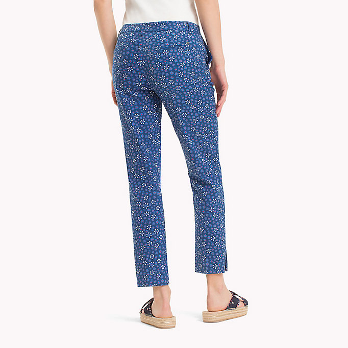 TOMMY HILFIGER Printed Ankle Slit Trousers - MINI LEAF PRT / FIESTA - TOMMY HILFIGER Women - detail image 1